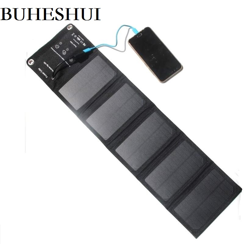 BUHESHUI 10W 5V NEW Foldable Universal Camping Travel Solar Panel USB Charger pack for iPhone Smartphones Free Shipping