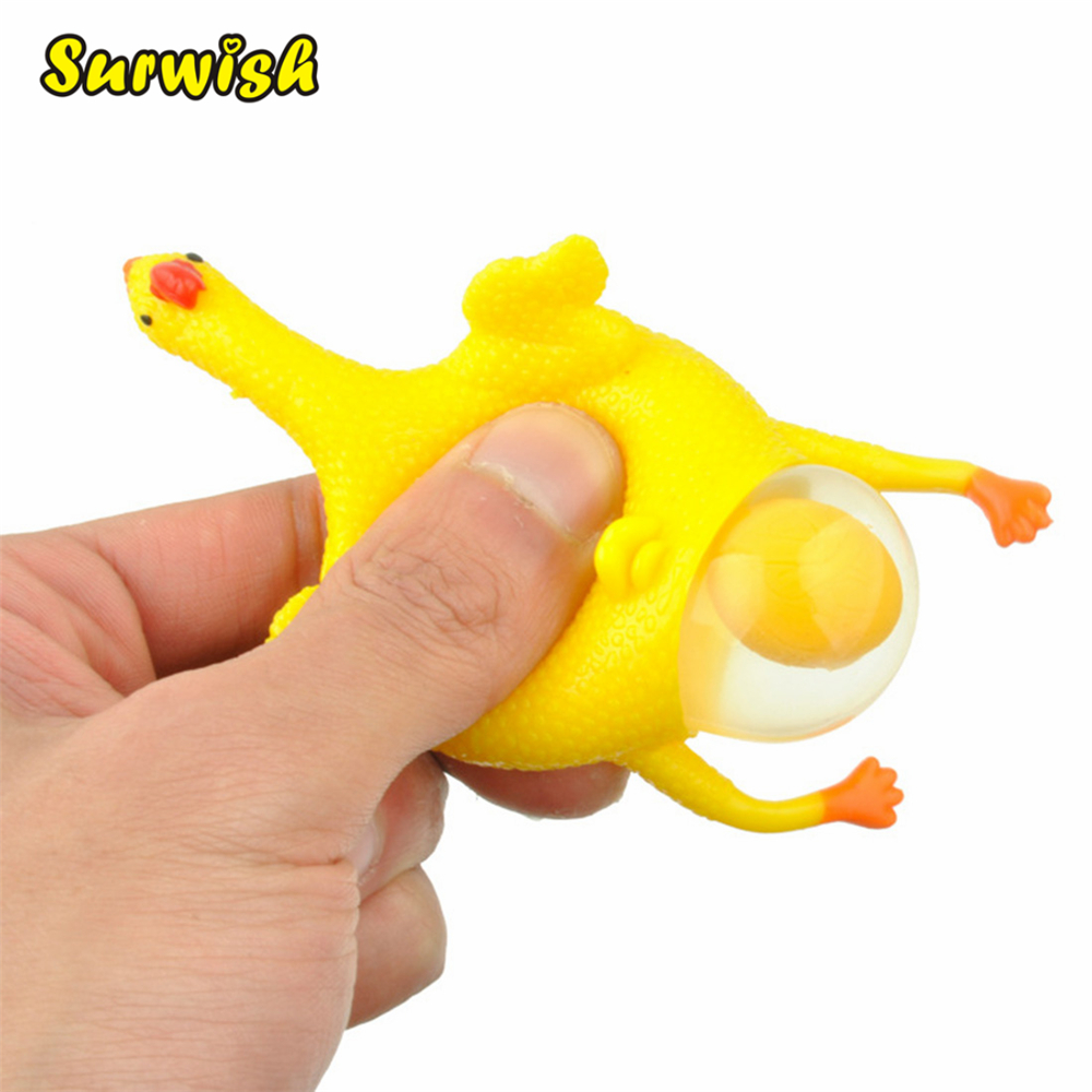 Surwish Laying Egg Hens Chicken Funny Relax Toys With Ring fidget toys - Yellow