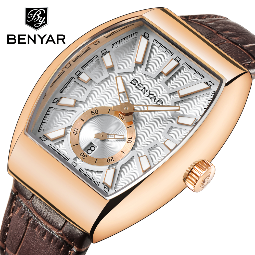 Top Luxury BENYAR NEW Quartz Mens Watches Brand Men Military Leather Male Sports Watch Hour Date Waterproof Relogio Masculino sports watch men waterproof male watch luxury leather band relogio masculino de luxo mens watches top brand luxury quartz watch