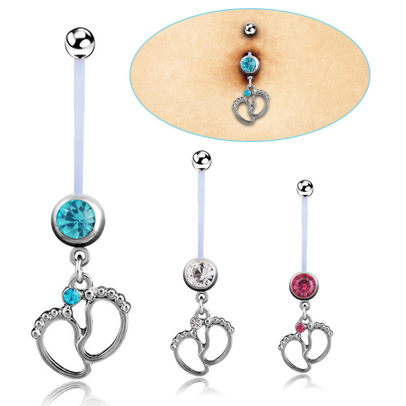 Fashion Women Flexible Baby Crystal Feet Navel Pregnant Belly Ring Body Piercing Jewelry M77