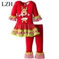 Lzh 2016 define girls roupas vermelho árvore de natal de manga longa tutu dress bowknot leggings 2 pcs outfit terno do natal dos miúdos traje