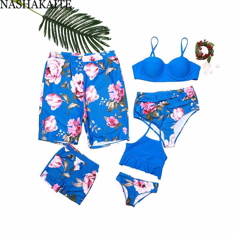 Nashakaite Keluarga Baju Renang Biru Bunga Cetak Ibu dan Anak Baju Renang Bikini Set Anak Laki-laki Baju Renang Pria Celana Pendek Pantai Keluarga Terlihat