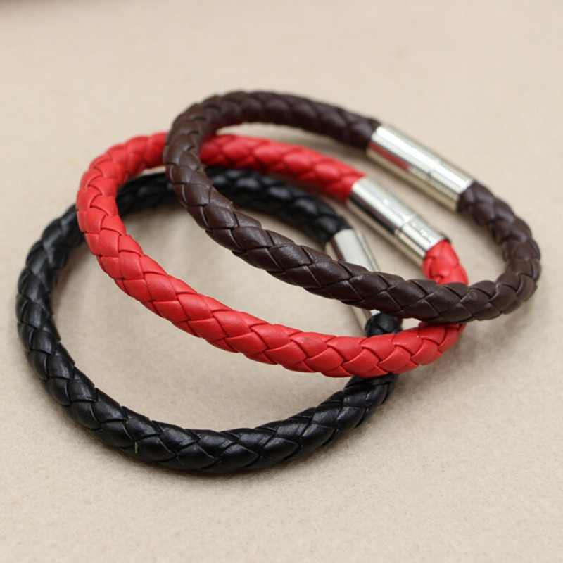 New 100% Genuine Braided Leather Bracelet Men Women Magnetic Clasp Male Bracelets Bangles Jewelry
