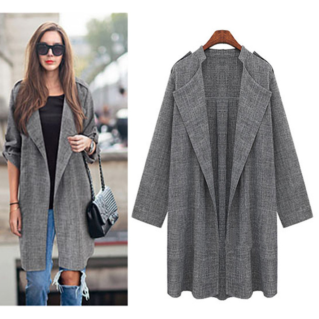 2017 New Women Long Coat Breasted Gray Suit Loose Blazer