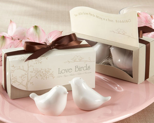 wedding favor gift and giveaways for guest -- Ceramic Love Birds Salt and Pepper Shakers party souvenir 1set image