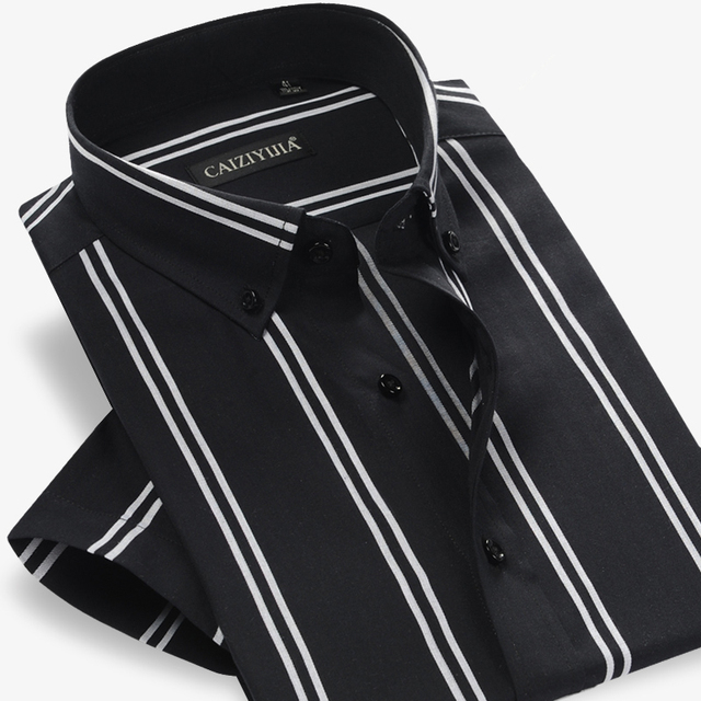 Summer 2017 Mens Contrast Double Stripe Short Sleeve Dress Shirt 100% Cotton Comfort Soft 100% Casual Slim-fit Button Down Shirt