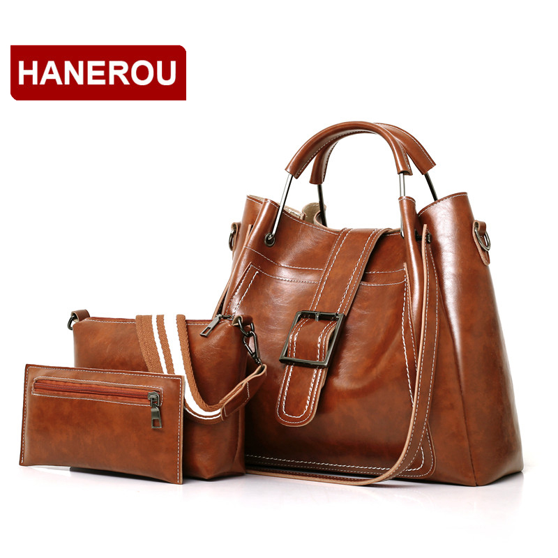 3 Set Composite Bags PU Oil Wax Leather Women Handbags Vintage Female Shoulder Bag Metal Handle Women Tote Bag Sac a Main Femme neverout oil wax style split leather bag for women vintage boston bag shoulder sac 3 color handbags tote zipper tote new handbag