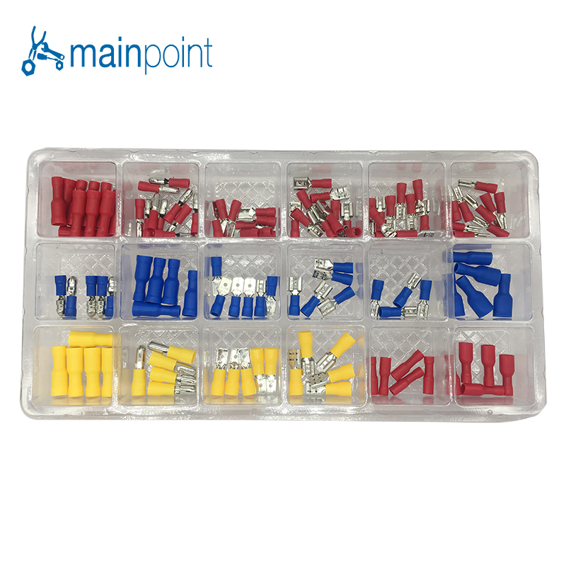 Mainpoint 120Pcs Insulated Wire Terminals Connectors Assortment Kit Electrical Crimp Spade Ring Fork For Cars Wiring Accessories 270pcs insulated crimp terminals wire connectors butt spade ring electrical assorted kit with plastic case