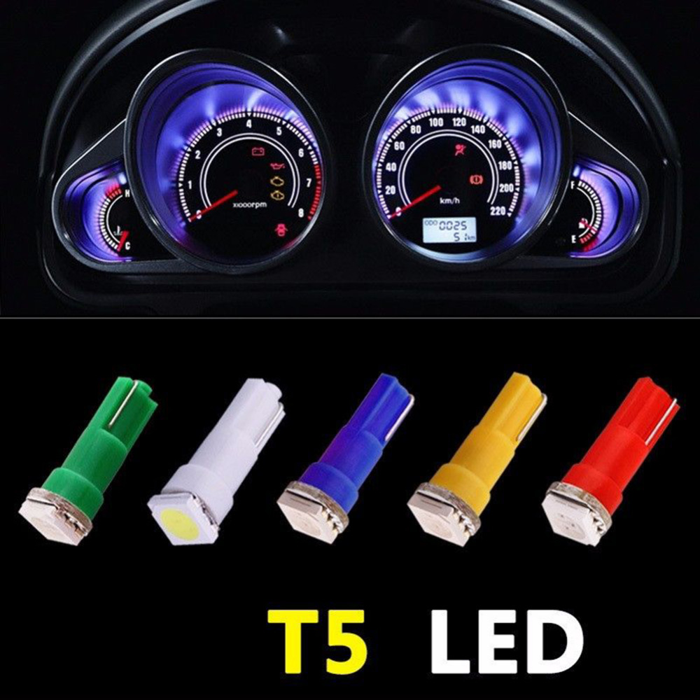 100 Stks/pak Auto-interieur Led Dashboard Licht T5 1 Smd 5050 Led T5 27 74 206 407 2721 Led Gloeilamp Geel/blauw/groen/rood/wit