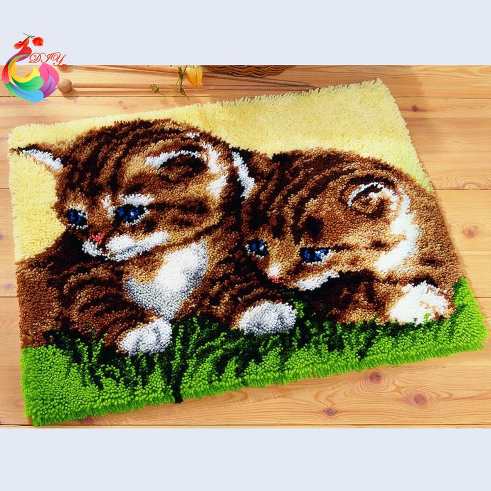 Cute Cats Cross Stitch Kits Latch Hook Rug Kits Embroidery