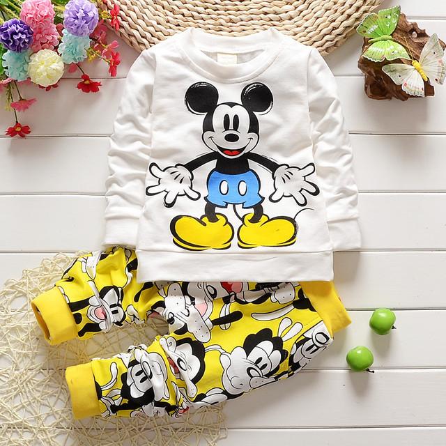 2017 Novo Minnie Bebê meninos roupas define crianças roupas de bebê menina conjunto de manga longa de algodão T-Shirt + Calças crianças mickey Pullover