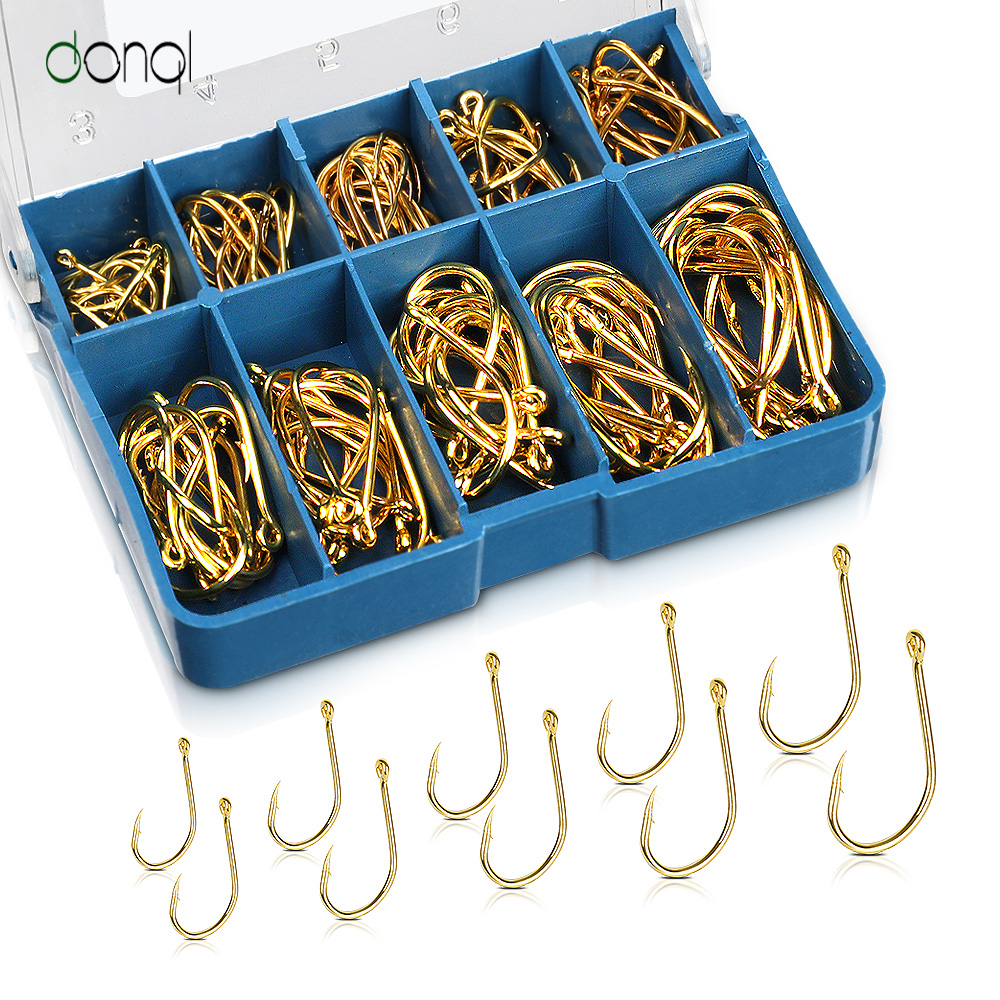 DONQL 100pcs High Carbon Steel Barbed Fishing Hook For Carp Fishing Pesca Jig Head Fishing Hooks Fishing Tackle Accessories