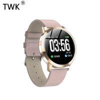 TWK 2019 Pink Smart Watch Women Waterproof IP67 Blood Pressure Monitoring Leather Strap Multi Sports SmartWatch Men Band reloj
