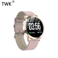 TWK 2019 Pink Smart Watch Women Waterproof IP67 Blood Pressure Monitoring Leather Strap Multi Sports SmartWatch Men Band reloj