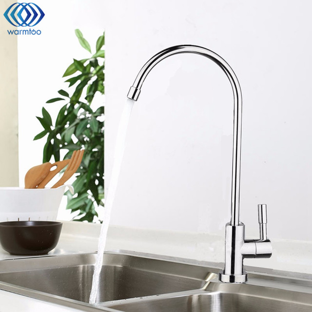 water filter faucet stainless steel. 1 4  Chrome Drinking RO Water Filter Faucet Stainless Steel Finish Reverse Osmosis