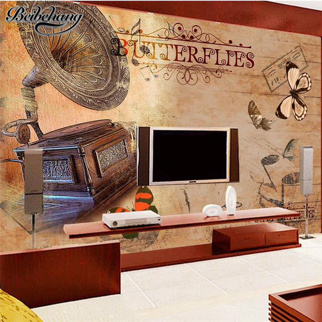 Beibehang Custom TV Backdrop 3d Retro Nostalgic Living Room Mural Fashion Music Theme Decorative Painting Papel