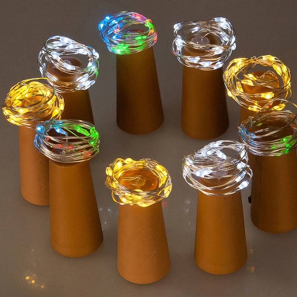 Solar Powered Wine Bottle Stopper 2 Meters 20 LED Cork Shaped LED String Lights Party Xmas Lamp Garden Yard Decorative Lamp