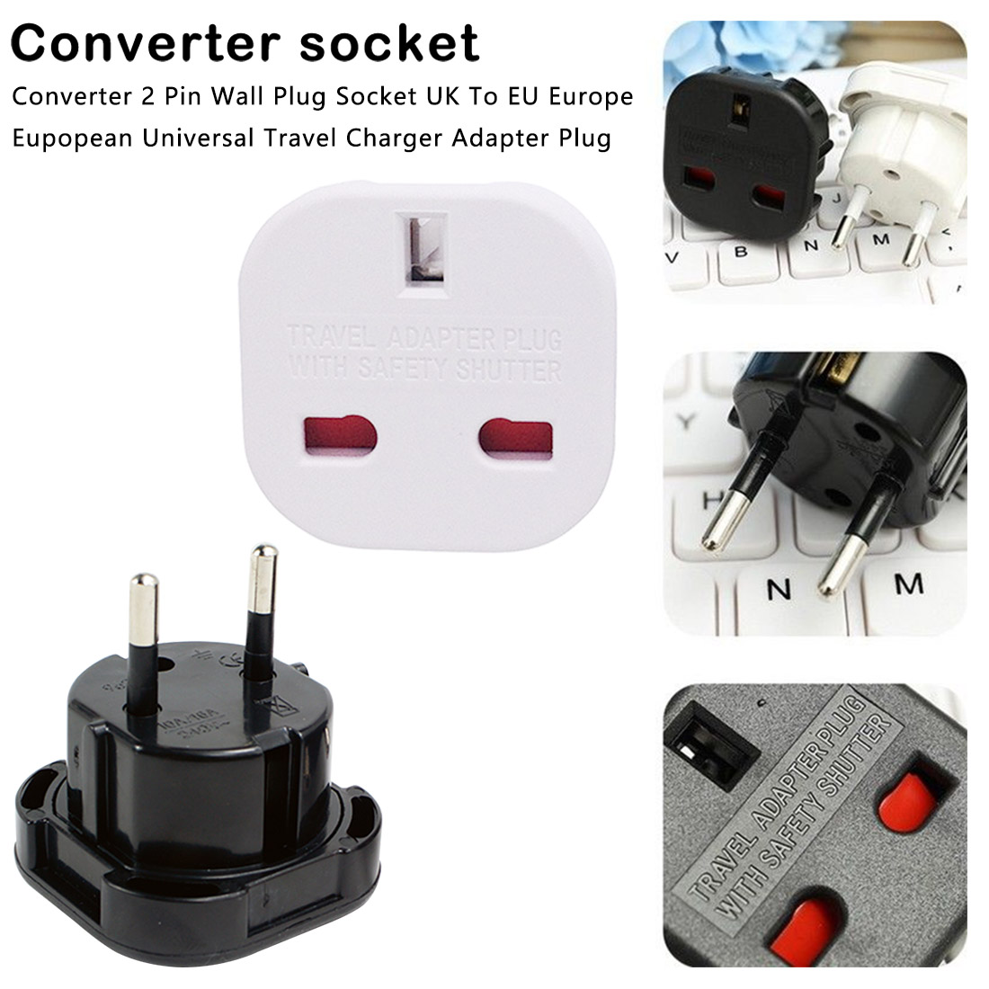 Portable Universal Travel Adapter UK to EU Wall AC Power Charger Adapter Outlet Converter Power Socket Plug Adaptor Connector