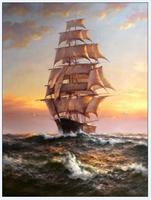 Realistic Art Seascape Oil Painting for Office Living Room Wall Decor Sailboat Canvas Painting Hand Made No Framed