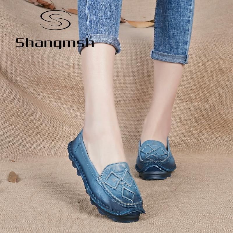 Shangmsh Originales Hechos A Mano de Las Mujeres del Zapato de Cuero Genuino Moc