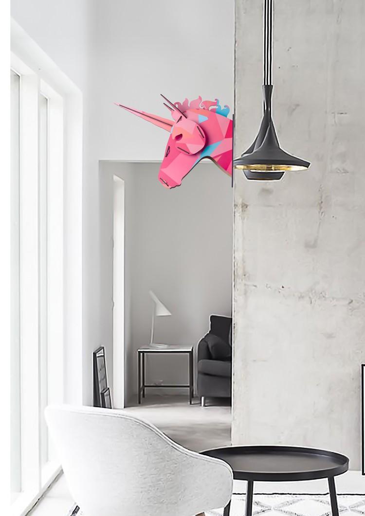 3D Wooden Unicorn Head Wall Decoration