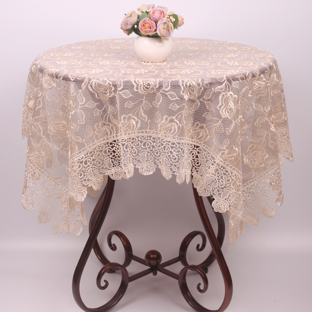 New Light Brown Rose Embroidered Table Cloth For Christmas Holiday Wedding  Decor / Elegant Handmade Chinese