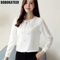 BOBOKATEER Woman Chiffon Shirt Blouse Women Blusas Mujer White Ladies Long Sleeve Clothes Womens Tops And