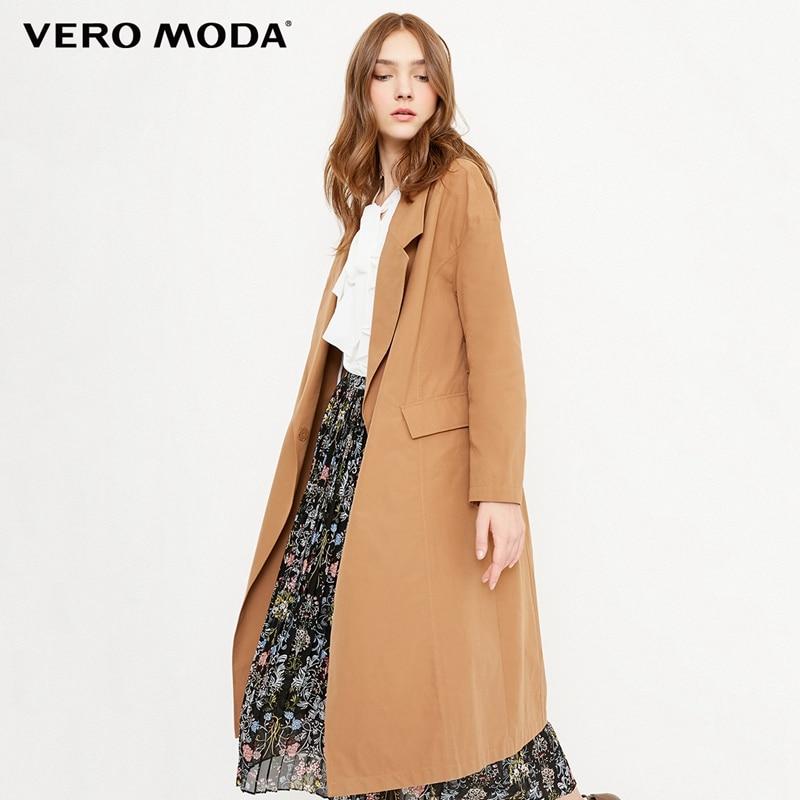 Vero Moda 2019 New OL Style Drop-shoulder Sleeves Women Wind Coat   Trench   Coat | 318121501