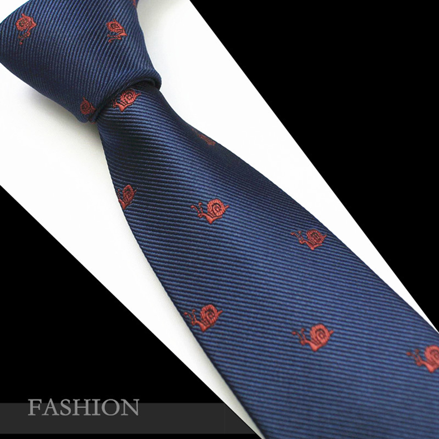 RBOCOTT Mens 7cm Animal Patterned Ties Neck Ties Cravatta in jacquard di seta per gli uomini Cravatta blu per business Wedding Party Gravatas Red