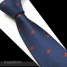RBOCOTT Mens 7cm Animal Patterned Ties Neck Ties Silk Jacquard Necktie for Men Blue Tie For Business Wedding Party Gravatas Red