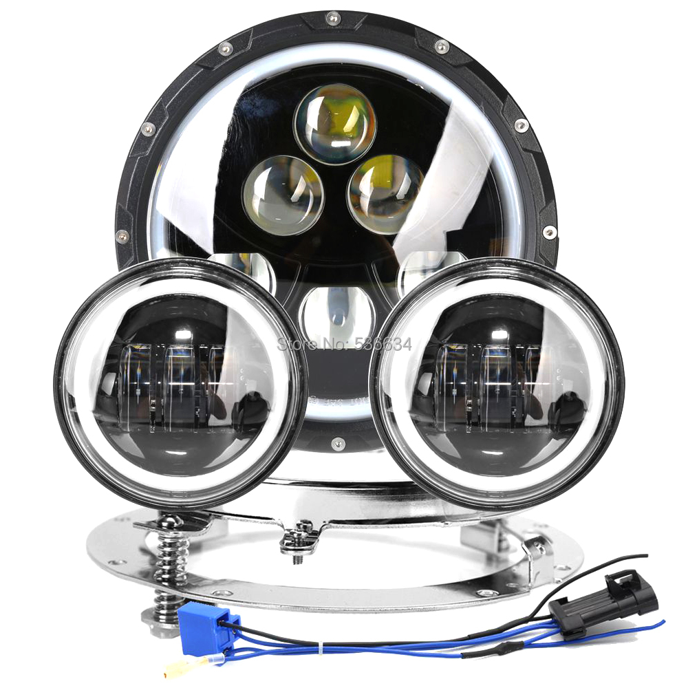 7inch LED Projector Daymaker Headlight Hi/Low DRL+7 Headlight Mounting Bracket Ring&4.5Passing Auxiliary Fog Lights For Harley