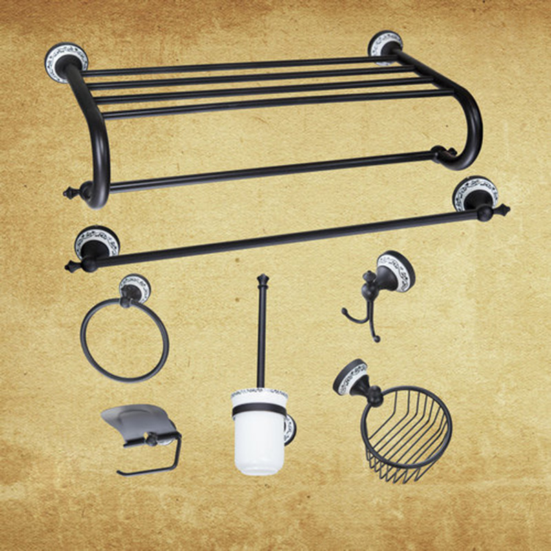 Hello Wall Mounted Oil Rubbed Bronze B5142 Bathroom Shelf Toilet Brush Holder Towel Ring Paper Holder Bathroom Accessories