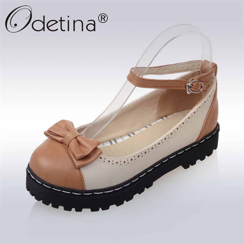Odetina 2018 Fashion Bowknot Mary Janes Platform Flat Shoes Lolita Bow Tie Women Buckle Strap Flats Round Toe Plus Size 33-43 все цены