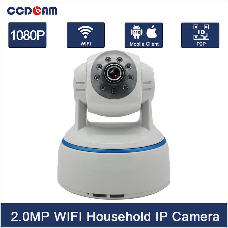 CCDCAM Wireless P2P 1080P 2.0MP Megapixel 30fps WIFI IP Camera Max 64GB Pan/Tilt Rotation Camera IR Webcam Home Security System