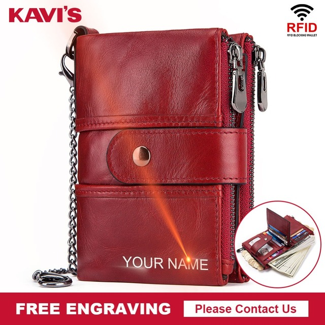 KAVIS Rfid Genuine Leather Free Engraving Quality Wallet Women Crazy Horse Wallets Coin Purse Short Male Mini Money Bag Girls