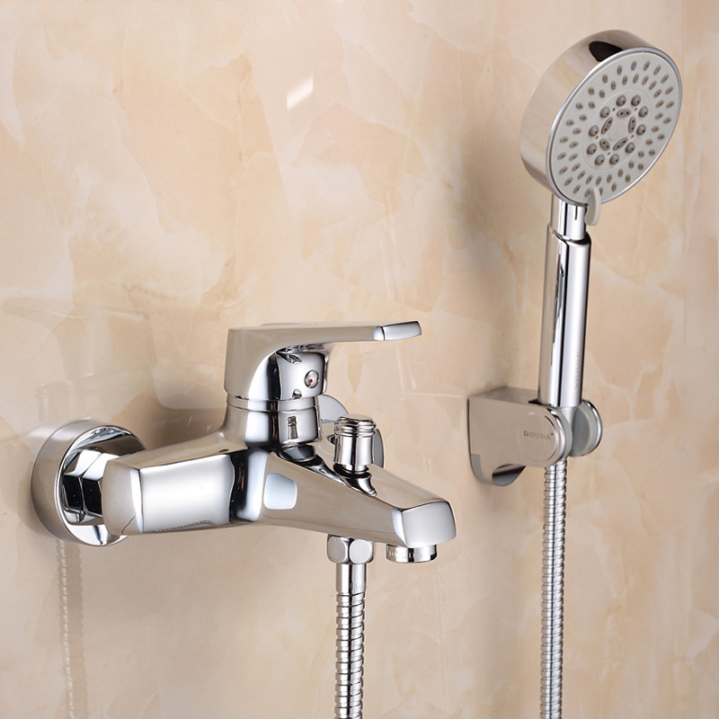 Wall Mounted Bathroom Faucet Bath Tub Mixer Tap With d Shower Head Shower Faucet hot and cold spout brass mixer torneira shower faucet wall mounted antique brass bath tap swivel tub filler ceramic style lift sliding bar with soap dish mixer hj 67040