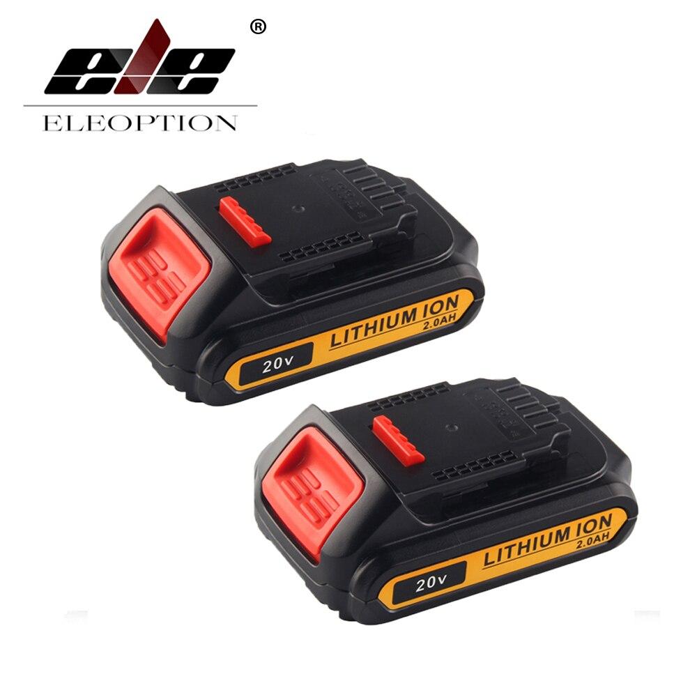ELEOPTION 2PCS 20V 2000mAh Li-ion Rechargeable Power Tool Battery For DEWALT DCB203 DCB181 DCB180 DCB200 DCB201 DCB201-2 melasta 20v 4000mah lithiun ion battery charger for dewalt dcb200 dcb204 2 dcb180 dcb181 dcb182 dcb203 dcb201 dcb201 2 dcd740