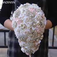 Wedding Bridal Bouquets Pink Ivory 2018 Brooch Bouquet Custom Crystal Diamond Teardrop Style Bride 's Bouquet Decoration