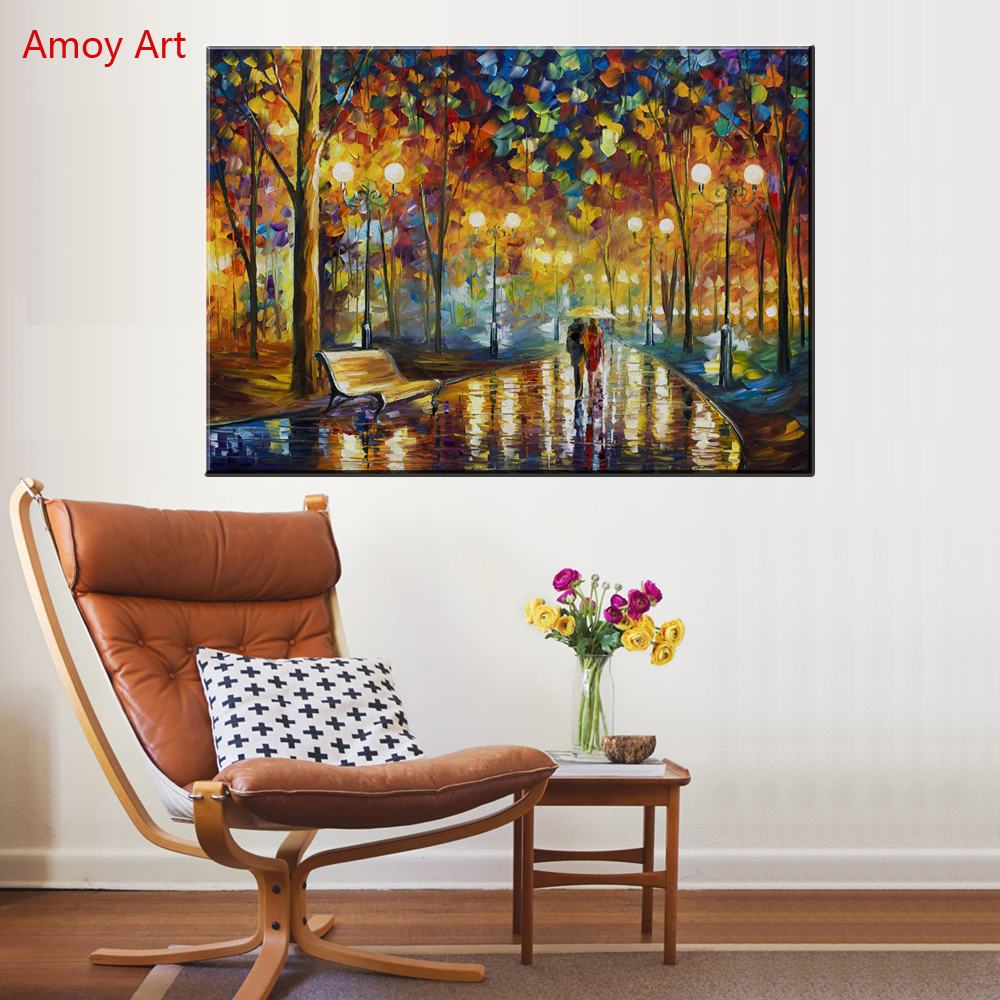 Large Canvas Print Lover Walking in Rainy Park Landscape Oil Painting - Home Decor - Photo 2