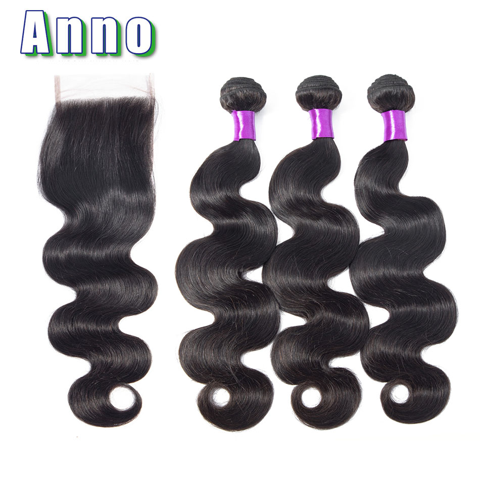 Annowig Human Hair Body Wave 3 Bundles With Closure Natural Color Malaysia Non Remy Human Hair