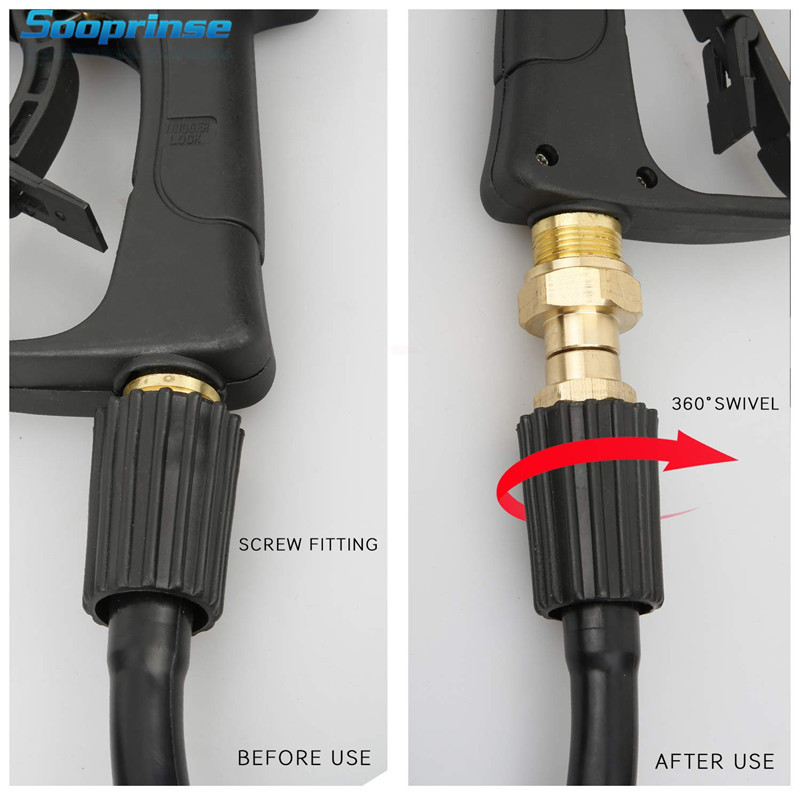 Image 3 - Sooprinse High Pressure Washer Swivel Joint, Kink Free Gun to Hose Fitting, Anti Twist Metric M22 14mm Connection 3000 PSI 2019-in Water Gun & Snow Foam Lance from Automobiles & Motorcycles