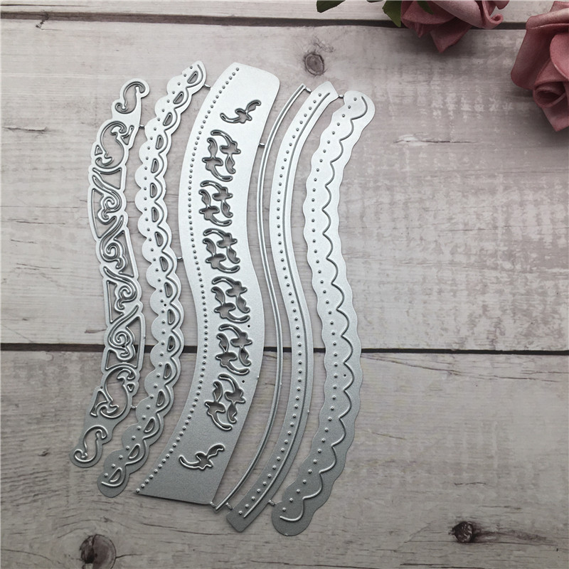 lot Vintage Lace Embrossing Curved Wavy Border Metal Cutting Dies Scrapbooking Embossing Paper Card Making DIY Cards in Cutting Dies from Home Garden