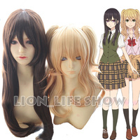 Citrus Yuzu Aihara Mei Aihara Black Brown Gold Long Curly Anime Cosplay Full Wig with Ponytails
