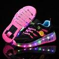 Синий и розовый модный светодиодный светильник для девочек и мальчиков  детская обувь для роликовых коньков  светящиеся кроссовки с колеса...