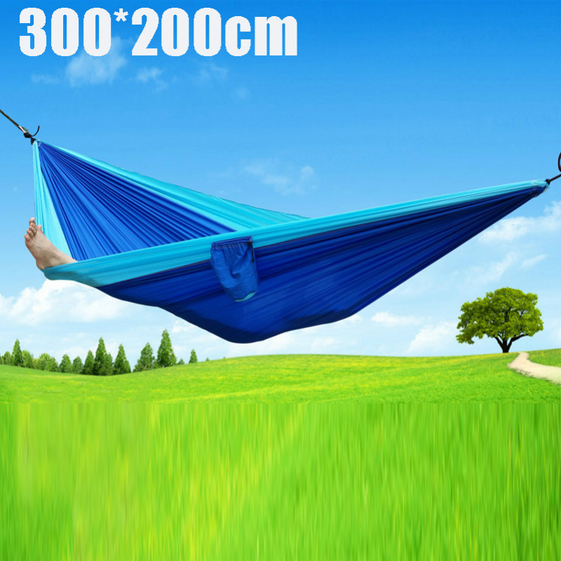 F 300*200cm Portable Nylon 2-3 people Hammocks Garden Outdoor Furniture Camping Travel Survival Hammock Sleeping Bed Xmas Gift 2017 portable nylon garden outdoor camping travel furniture mesh hammock swing sleeping bed nylon hang mesh net