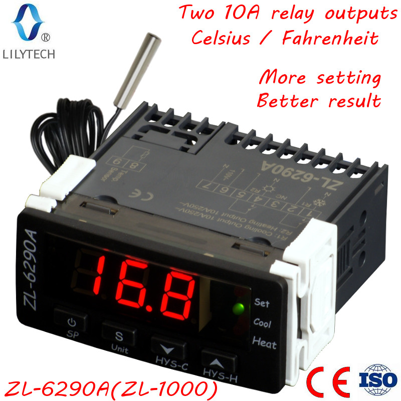 ZL-6290A, Celsius Fahrenheit, Option, Similar To STC-1000, ITC-1000; Dual 10A Outputs, Thermostat, STC 1000