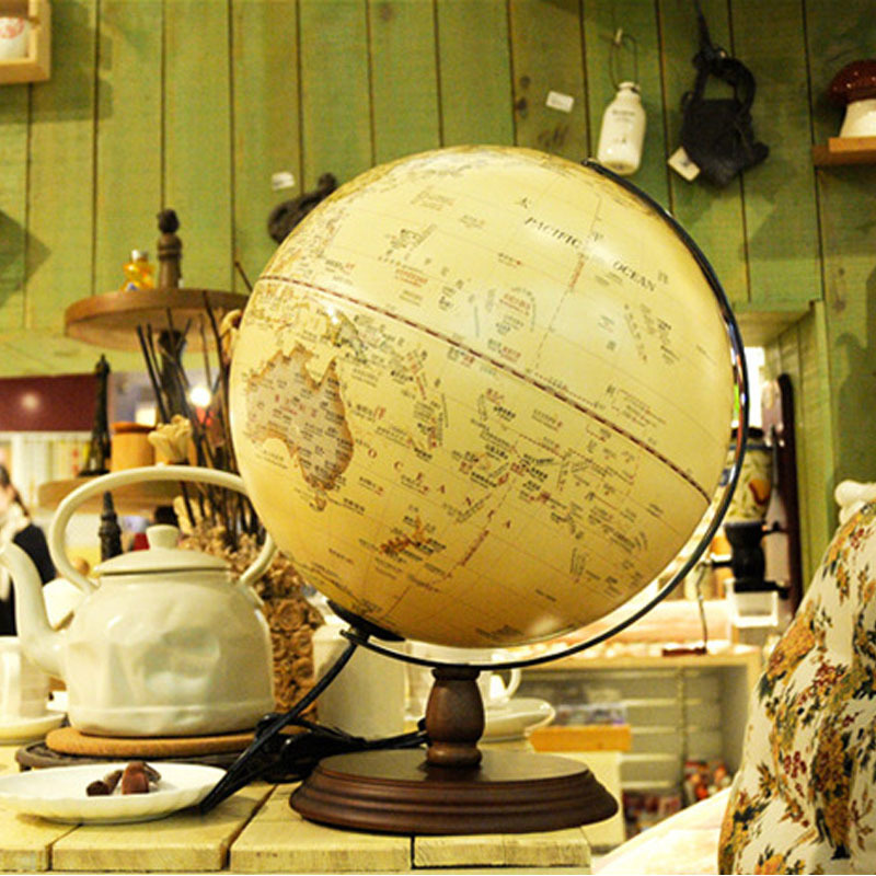 8 Inch Led Light Globe Geography Map Wood Base Kids Gift Home Office Decoration Lamp Educational