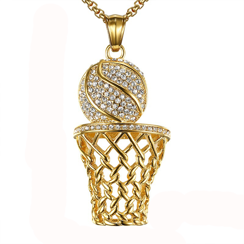 Hip hop iced para fora basquete entrando quadro pingente colar masculino cor do ouro aço inoxidável esportes colar rock jóias