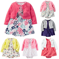 2017 Baby Girl Clothes Floral Newborn Baby Girls Clothing Sets Infant Jumpsuits Outwear+Romper+Dresses 2 pcs Baby Girls Clothes