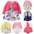 2017 Conjuntos de Roupas Meninas Do Bebê Recém-nascido Do Bebê Roupas de Menina Floral Macacões Infantis Outwear + Romper + Vestidos 2 pcs Bebê Roupa das meninas